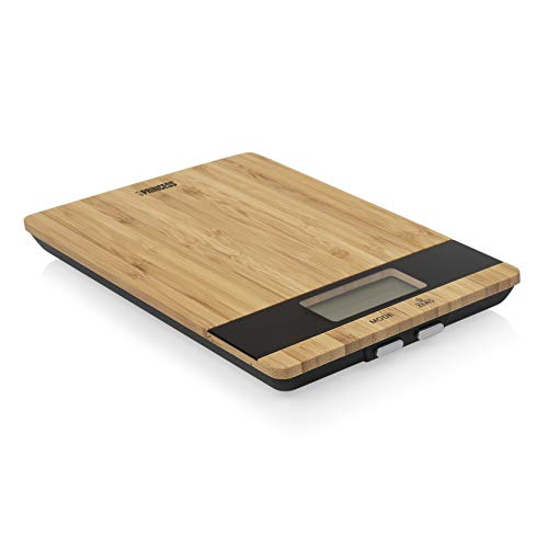 Princess 492944 Küchenwaage Pure – Elegantes Bambusdesign – aufs Gramm genau bis 5 kg, Tara Funktion