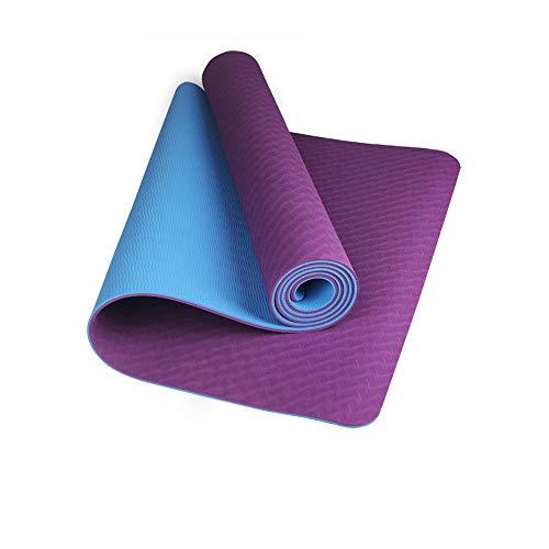 MH-RING Esterilla Yoga, 6MM Esterilla Deporte Antideslizante Material ecológico TPE, Yoga Mat diseñado para Entrenamiento físico con Correa de Transporte y Bolsa 183 * 66CM (Color : Purple)
