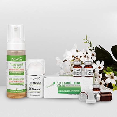 ACNE OUT. Tratamiento Antiacne de Choque. Elimina el acne facial, espinillas y granos. Lote 3 productos 1 Espuma purificante 1 Serum regulador piel grasa 1 Crema antiacne