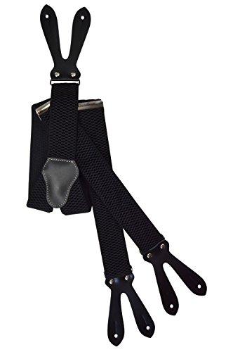 Olata Hosenträger extra starken mit Knopfloch und Echt Lederriemen - 4cm. Schwarz