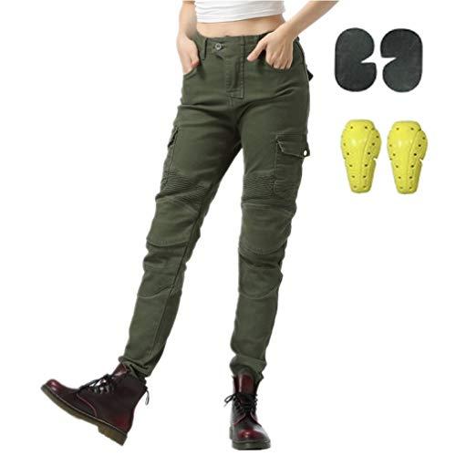 WCCI Damen Motorradhose Motorrad Jeans Biker Trousers Weiblich Motorrad Hose Fahrrad Riding Schutzhose,4 x Schutz ausrüstung (Armeegrün, 31W)