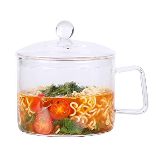 Mini Sized Glass Pasta Noodles Bowl with Lid and Handle, 44 FL OZ/1.4L Glass Soup Bowl for Noodles, Soup, Cereals, Fruits, BPA Free, Microwave Dishwasher Oven