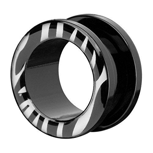 Piercingfaktor Túnel dilatador de plástico para la oreja, con cierre de rosca tribal, diseño de cebra, 8 mm, color negro