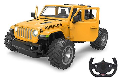 Jamara 405181 Jeep Wrangler JL 1:14 schwarz 2,4GHz Big Wheel Tür manuell-offiziell lizenziert, bis 1 Std Fahrzeit, ca. 11 Kmh, perfekt nachgebildete Details, detaillierter Innenraum, LED Licht, Rot