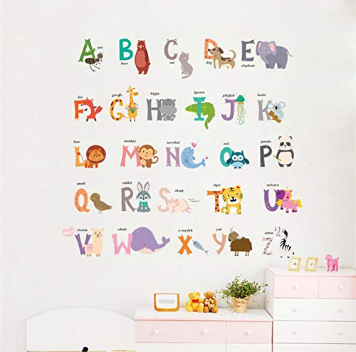 Animated Film Raging Dense Forest 26 Letter Alphabet Animal Wall Sticker Decorative Label Poster 90 X 30Cm