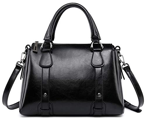 Leather Handbags and Purses for Women Top Handle Satchel Bag Ladies Shoulder Crossbody Work Bags Black