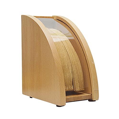 CHICAI Bandeja de filtro de café cónico, caja de almacenamiento de tejidos de madera maciza con tapa, caja de polvo de almacenamiento de papel de papel de gran capacidad, para cafés de la barra de coc