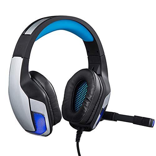 WQYRLJ Gaming Headset 3,5Mm PC Stéréo Jeu Casque avec LED Micro Light pour Gamer Ordinateur Tiktok,Bleu