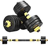 Adjustable Dumbbells, 22/44/66/88 Lbs Weight Set, Dumbbell Barbell 2 in 1, Solid and Configurable with Rubbery Protective Cover, Easy Assembly and Save Space, Home Gym Equipment for Men Women (88)