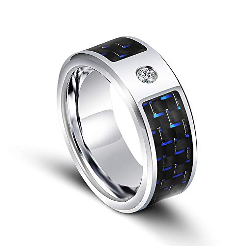 IGRNG Herren Smart Ring Ring, Digital Smart Ring Blue Carbon Diamond Titan Ring, Multifunktion, Mehrzweck,Silber,14