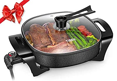 Electric Skillet Multifunction Electric Frying Pan, 12'' Ultra Non Stick Electric Fry Pan with Standable Glass Lid and Heat Resistant Handles, Tibek