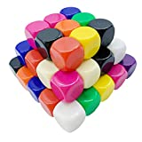 JEVERGN 50Pcs 16mm Blank Acrylic Dice Cubes - Ten Colors 6 Sided Die with Dice Bag for Board Games, DIY, Fun and Teaching