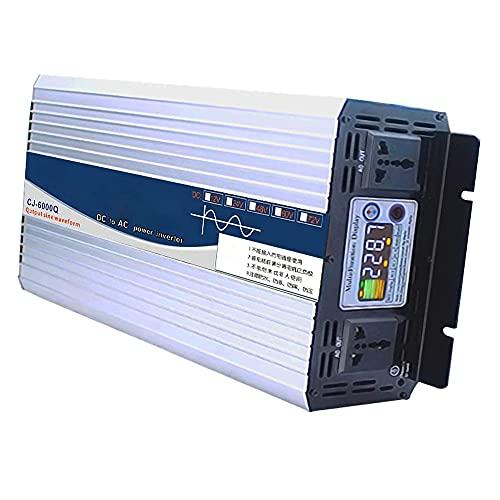 Inversor de onda sinusoidal pura 3000 W / 6000 W pico DC 12 V a 220 V CA convertidor de voltaje de pantalla a color doble inversor de tomas universales, 12 V 220 V 6000 W