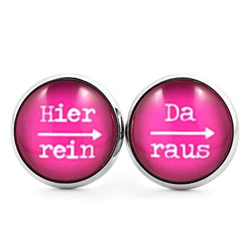 SCHMUCKZUCKER Damen Herren Unisex Ohrstecker mit Spruch Hier rein - da raus Lustige Edelstahl Ohrringe Silber Pink 14mm