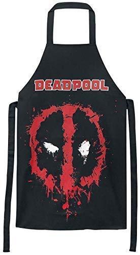 Deadpool - Face Salpicaduras - Hombre Oficial Delantal - Negro, OS