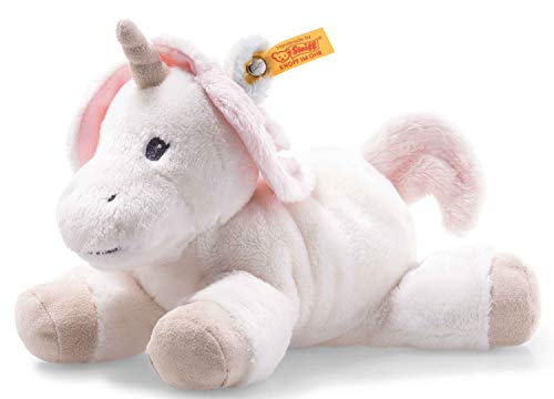 Steiff Unica Babe Einhorn - 22 cm - Plüscheinhorn liegend - Kuscheltier für Babys - Soft Cuddly Friends - weich & waschbar - weiß (241796)