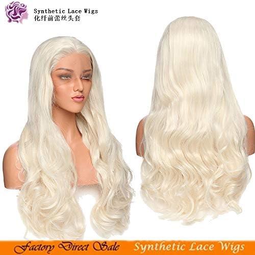 WIG MINE Perruque en dentelle synthétique avec parcravate en vague de corps platine blonde
