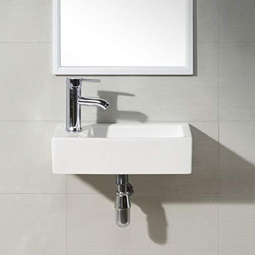 Waschbecken - DESIGN Aufsatzwaschbecken- Waschtisch Klein Gäste WC Waschschale Handwaschbecken Lotus Effekt rechts 450 mm x 250 mm x 120 mm (left or right) von Art-of-Baan®