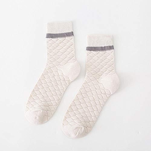 XINDUO Mujer Calientes Calcetines de Lana Gruesa,Calcetines de algodón de Color Liso 5 Piezas-Rombo Blanco Roto,Mujer Calientes Calcetines de Algodon Gruesa