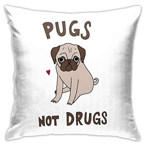Throw Pillow Cover Cushion Cover Pillow Cases Decorative Linen Pugs Not Drugs Heart for Home Bed Decor Pillowcase,45x45CM