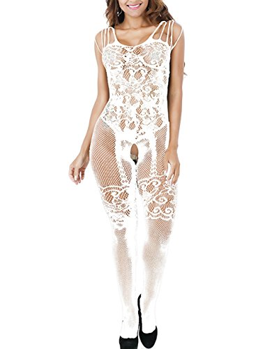 Buauty One Piece Strap Bodystocking White Sexy Lingerie Women Plus Size Sheer Full Body Fishnet Bodysuit