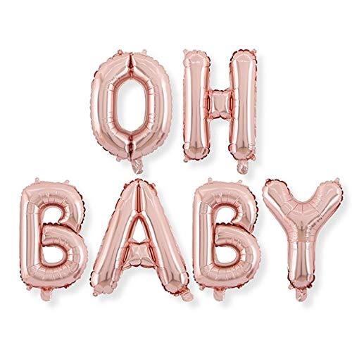 DreamJ 16 Zoll Oh Baby Folie Ballons Buchstabe Ballon-Set für Baby-Dusche Geburtstag Party Dekorationen,Hochzeitsdekoration,Party Dekoration,PartyZubehör,Fotorequisite Rose Gold
