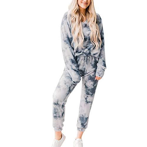 MoneRffi Womens Tie Dye Pyjama Set Round Neck Sleepwear Long Sleeve Pullover Tee Tops and Jogging Pants Bottoms Pjs Soft Tracksuit SetDGrayXL