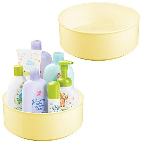 mDesign - Draaiplateau voor babykamer - bergruimte - voor speelgoed/babybenodigdheden zoals flesjes en fopspenen - stijlvol/rond/BPA-vrij plastic/roestvrij staal - lichtgeel