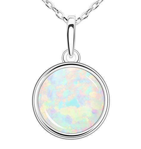 KristLand - Moonlight Kette Damen Erstellt Weißer Opal Anhänger aus Sterlingsilber mit Anhänger kreisförmig Kreis Form Geschenk für Frauen/Mädchen/Hochzeiten/Party 16MM