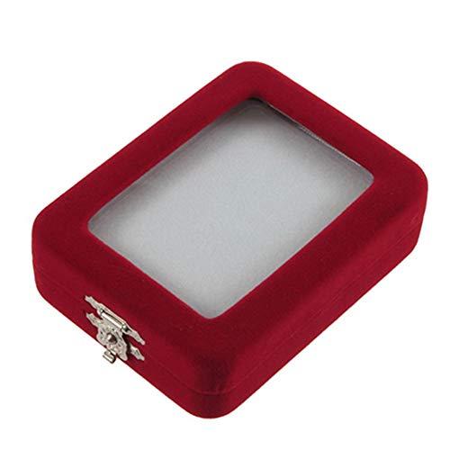 Kalaokei Joyero de terciopelo rojo para regalo, caja de joyería, soporte para anillos, pulseras y pendientes.