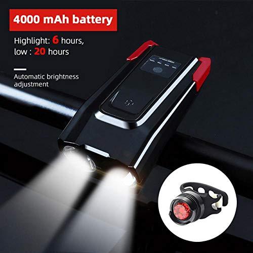 XWYWP Fahrradlicht 4000mAh Induktion Fahrrad Frontlicht Set USB wiederaufladbare Smart Scheinwerfer mit Horn 800 Lumen LED Bike Lampe Radfahren Taschenlampe 4000redrear