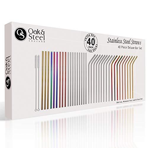 Oak & Steel 36 Pailles en Acier Inoxydable Réutilisables Premium & 4 Brosses.