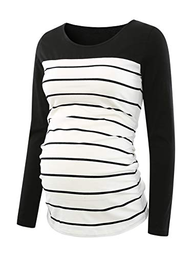 Ecavus Women's Maternity Tops Long Sleeve Clothes Flattering Side Ruched Pregnancy T-Shirt