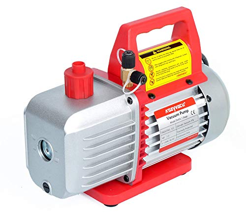 4.5CFM Single-Stage Rotary Vane Vacuum Pump (4.5CFM, 150 Miron, 1/3HP, 1/4'Flare 1/2'Acme Inlet) for HVAC/Auto AC Refrigerant Recharging, Wine Degassing, Milking, Medical, Food Processing etc.