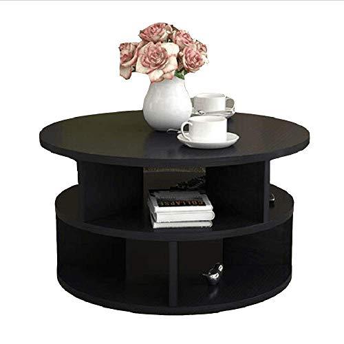 Zaixi Table Basse en Bois Massif Salon Petite Table créative Mini Table Ronde Simple à Deux Couches Forte capacité portante (Couleur : B, Taille : 60 cm)