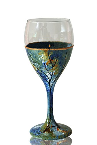Kiddush Cup Wine Glass Hand Painted Green Blue Ocean Inspired Tree of Life