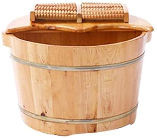 ZHIQIANG Foot Spa Household Gift Footbath,Wooden Foot Bath Barrel Wooden Household Durable Health Foot Washing Bucket Foot Tub Solid Wood Foot Bath Household Items Decoration (Color : 1) (Color : 1)