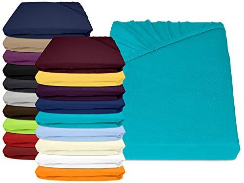 npluseins Jersey Elasthan Spannbettlaken für Wasser- und Boxspringbetten - in 19 modernen Farben - Steghöhe ca. 40 cm - Maße ca. 180-200 x 200-220 cm, türkis