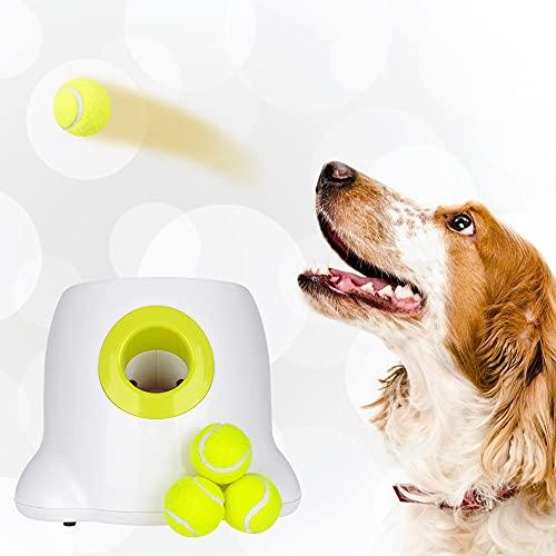 GJCrafts Lanzador de Bolas automático 3 configuraciones de Distancia de Tiro Máquina para lanzar Pelotas de Tenis interactiva para Entrenamiento y Entretenimiento de IQ de Perros (3 Bolas Incluidas)