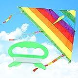 WANG Colorido del Arco Iris de la Cola de la Cometa Larga de poliéster Exterior Volar Cometas Juguetes para niños de los niños del Truco de la Resaca de la Cometa con la Barra de Control y la línea