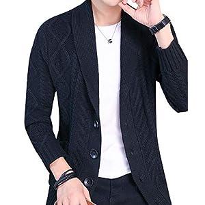 [メリュエル] カーディガン M~2XL アラン 編み 羽織り 厚手 上着 ポケット ボタン 前開き ブラック 2XL