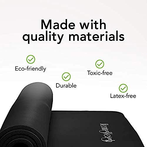 HemingWeigh 1 inch Thick Yoga Mat, Extra Thick, Non Slip Exercise Mat for Indoor and Outdoor Use, Black