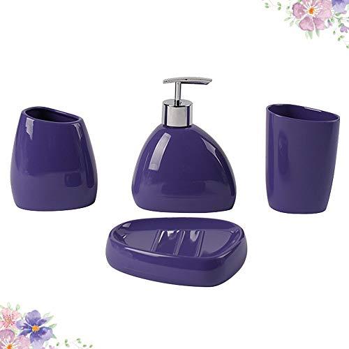 ZHNINGUR Cuarto de baño de acrílico de alimentación de Primera Calidad higiénico Set Cepillo de Dientes Jabón sostenedor del Plato de Dientes Taza Loción Botella baño Traje
