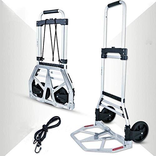 Carros Plegables multifuncionales de aleación de Aluminio con Ruedas de Goma antipinchazos y Capacidad de 100 kg,Carro de Compras Negro para Uso en Compras en Interiores y Exteriores