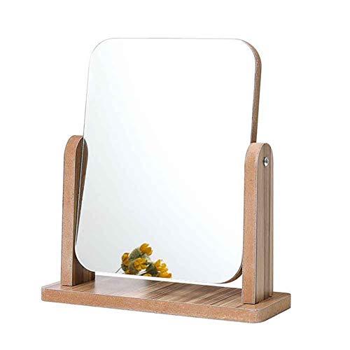 Duofenlh Miroir de maquillage en bois de qualité supérieure pour miroir de maquillage rectangulaire en verre rectangulaire