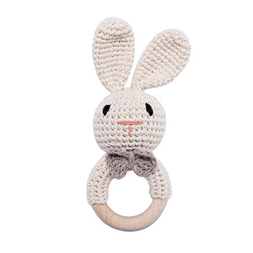 Wooden Baby Rattle Lovely Crochet Bunny Ring Rattle Baby ToysBeige Bunny