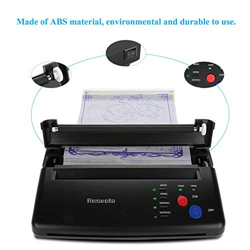 Tattoo Transfer Stencil Machine, Thermal Tattoo Copier Printer for Temporary and Permanent Tattoos, with 10Pcs Tattoo Stencil Transfer Papers