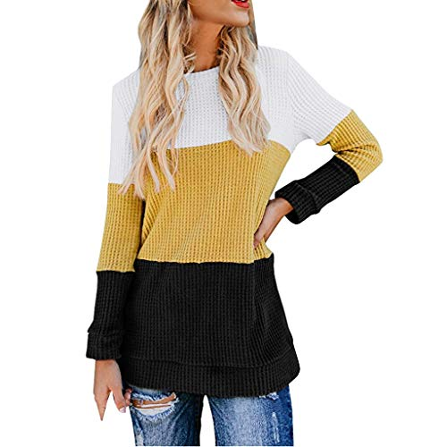 KLFGJ Ladies Knitted Sweater Color Block Round Neck Striped Pullover Winter Women Sweatshirts Slim Blouse Yellow