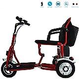 Scooter de movilidad con asiento con suspensión, luz delantera y punto de carga de alto nivel 12ah, silla de ruedas eléctrica Aviación de viaje Silla de ayuda para movilidad de servicio pesado, rojo