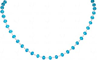 "18/"" INCHES CRYSTAL FACETED BEAD NECKLACE KNOTTED IN CHAIN-CC1001"